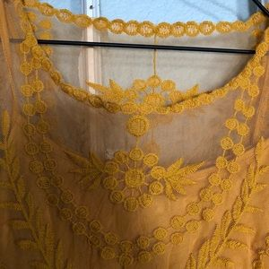 H&M Dresses - 🏔boho mustard yellow lace dress long sleeves